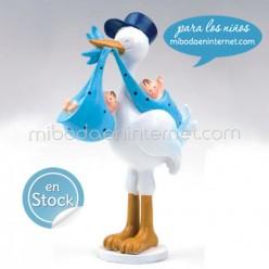 Figura pastel Bautizo cigüeña Gemelos niños Pit 20 cm
