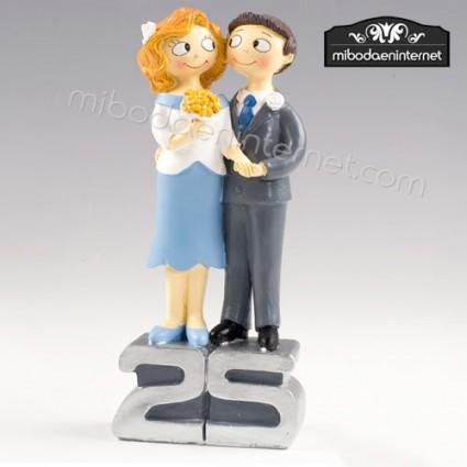 Figura Pastel Bodas 25 Aniversario 22,5 cm-Bodas Plata