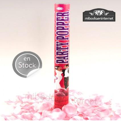 Cañón confeti pétalos rosa 38cm