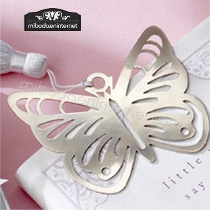 Punto de libro Metal plateado mariposa en cajita con lazo