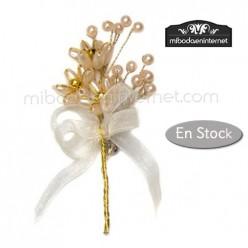 Broche Perlas Beige y doradas