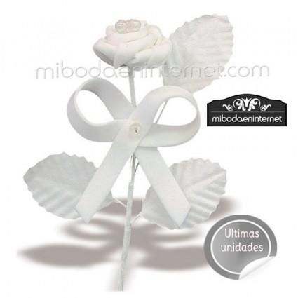Ramillete de Flor rosa Foam con lazo y perlita 10 cm