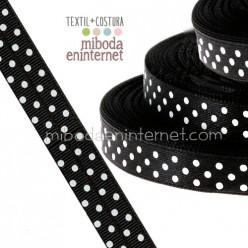 Cinta Grosgrain Negra lunares blancos 10 mm - Metro
