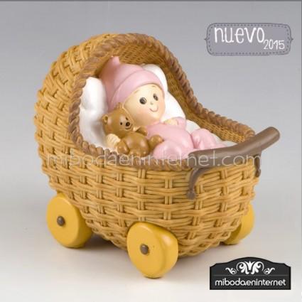 Figura pastel hucha Cochecito Rosa