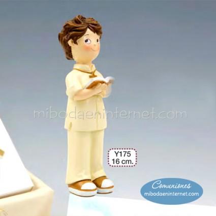 Figura Pastel Niño Comunión Traje Beige 16cm