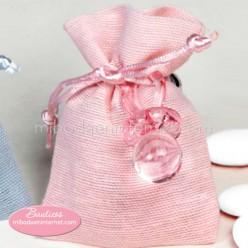 Saquito lino con chupete en rosa y 5 peladillas chocolate