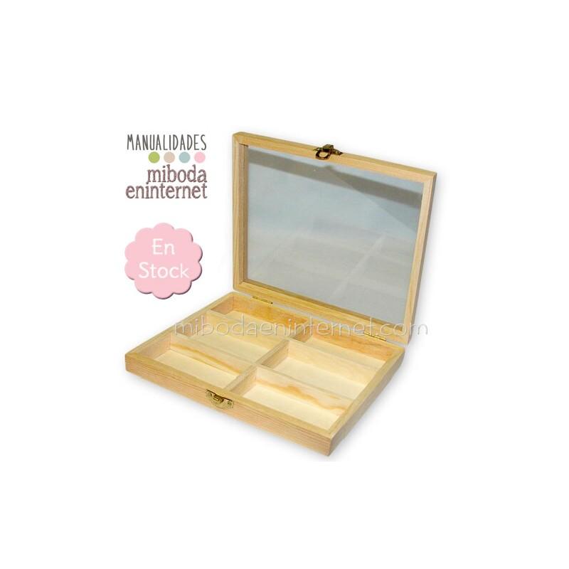Caja madera 6 espacios manualidades - Caja madera manualidades ...
