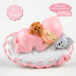 Imán Bebé cerámica niña acostadita rosa