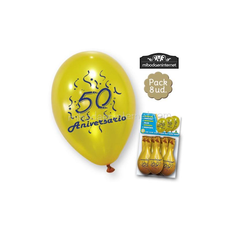 Globos 50 aniversario oro pack 8 ud mibodaeninternet - Globos 50 anos ...