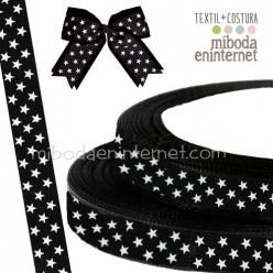 Cinta Grosgrain Negra Estrellas blancas 20 mm - Metro