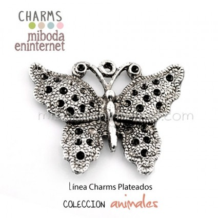 Charm Mariposa plata labrada 34x26mm