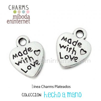 Charm Corazon plata Made with Love 12x10mm