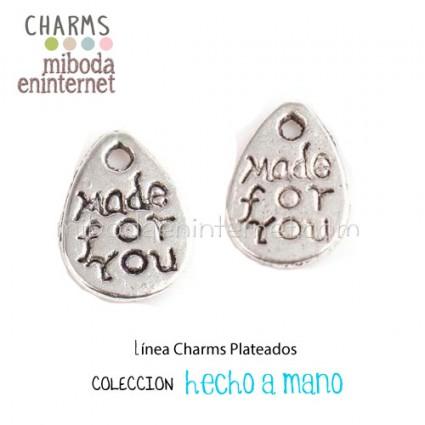 Charm Chapa plata Made for you 11x8mm
