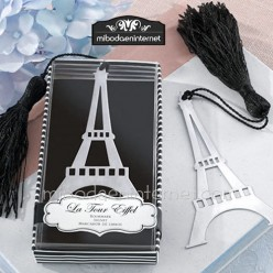 Punto de libro Metal plateado Torre Eiffel en cajita