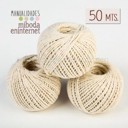 Cordel Algodón Beig 1mm-rollo 50 mts