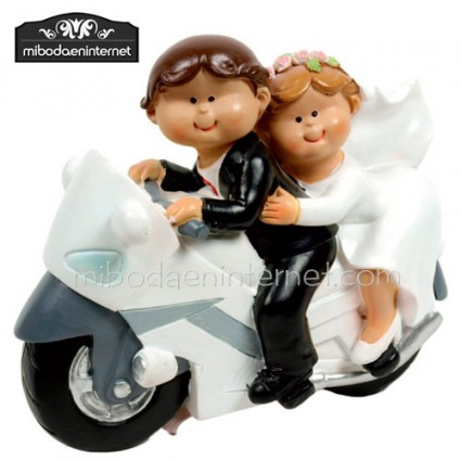 Figura Pastel Novios Mouflins en moto