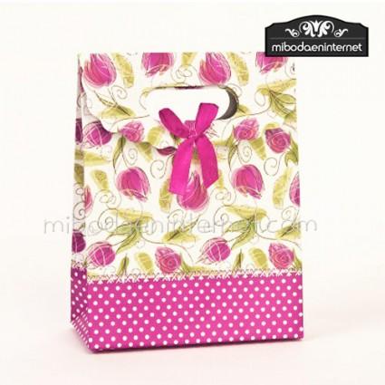 Caja con asa decoración Tulipanes