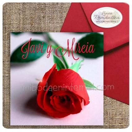 Invitación Boda + Sobre Rojo Carmín Rosa Roja
