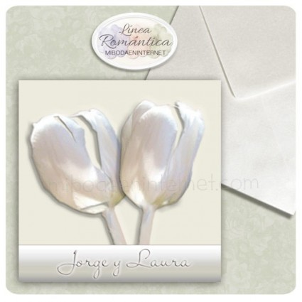 Invitación Boda Tulipanes Constanza Cuadrada