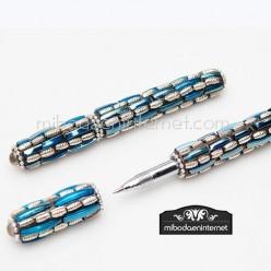 Boligrafo pedrería azul y dorado lamé