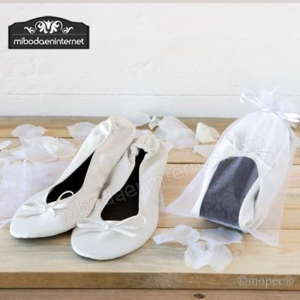 Bailarina Blanca imitación piel + bolsa