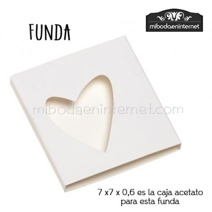 Pack 25 ud Funda Cartulina blanca silueta corazón