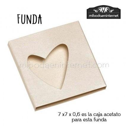 Pack 25 ud Funda Cartulina beig satinado silueta corazón