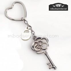 Llavero llave flor y candado c/ Caja Regalo Plata
