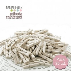 Mini Pinza madera marfil pack 25