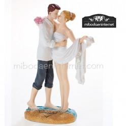 "Figura Pastel Novios ""en la arena"" 16 cms"