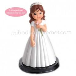 Figura Pastel Niña Comunión Rosa 15 cms