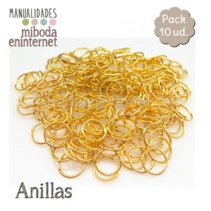 Anilla metal oro abierta 10 mm Pack 10 ud