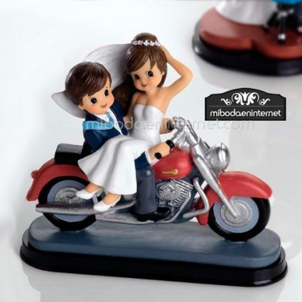 Figura Pastel Novios Motocicleta 16 cms