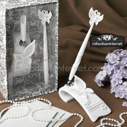 Bolígrafo Firmas en Peana Mariposas con caja vintage de regalo