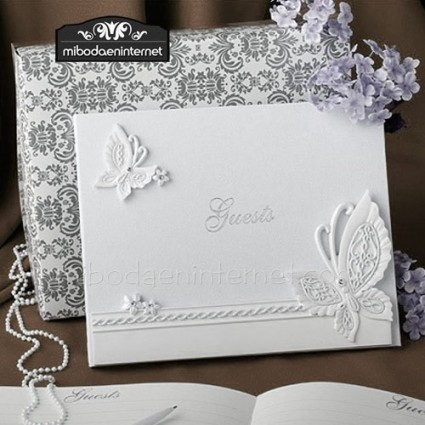 Libro Firmas Mariposas Boda o comunión en blanco y nácar