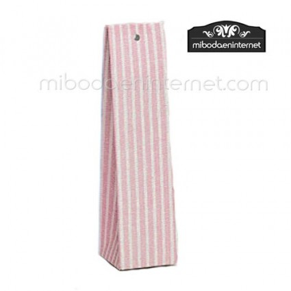 Caja alta cartón rayas rosa 14x3,5x3,5
