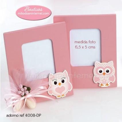 Portafotos Madera Buhos rosa