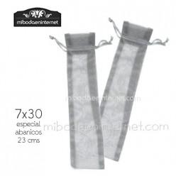 Bolsa organza plata 7x30 abanicos detalles largos