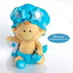 Figura Pastel Hucha Bebé Pañal Niño celeste