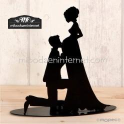 Figura decorativa novia embarazada 19 cms con vela