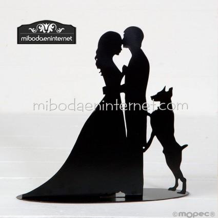 Figura decorativa novios con perro 19 cms con vela