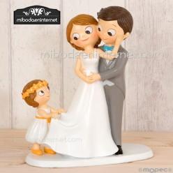 Figura pastel novios papás con niña Pop & Fun