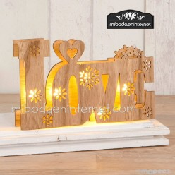 Decoración madera LOVE con luces led 21 x 13