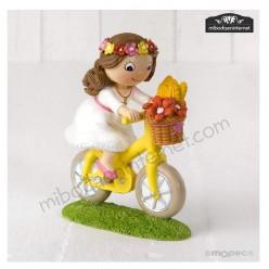 Figura Pastel Niña Comunión Bici