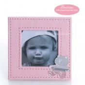 Marco Fotos Piel Cuadrado Rosa Motivos Bebé