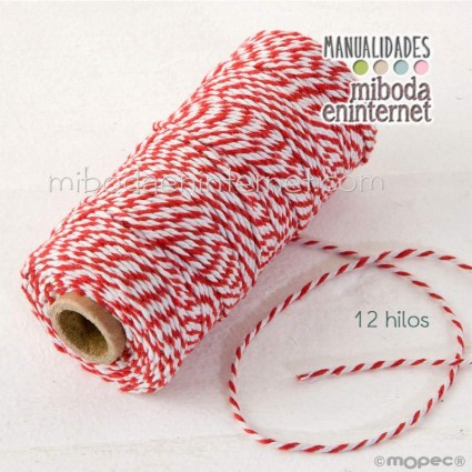 Cordón bicolor Baker's Twine 3mm rojo