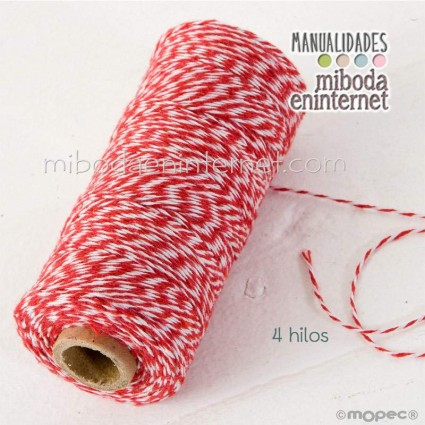 Cordón bicolor Baker's Twine 1mm rojo