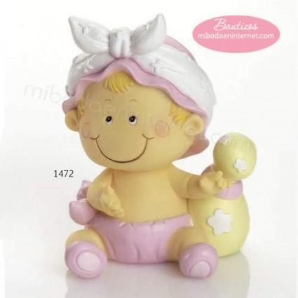 Figura Pastel Hucha Bebé Pañal Niña Rosa