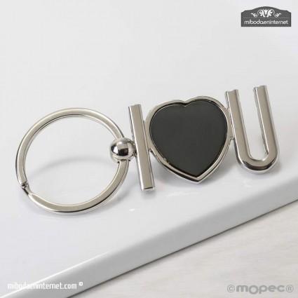 Llavero Letras I Love U y corazón