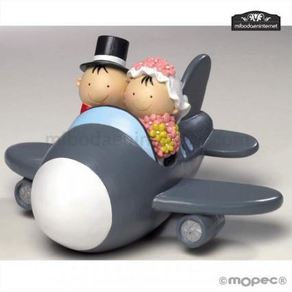 Figura pastel Pit Pita Novios Avion Hucha 19cm